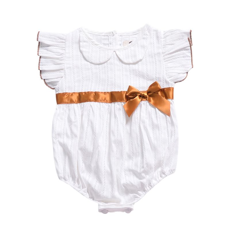 Summer Bow Short Flutter Sleeve Baby Girl Bodysuit