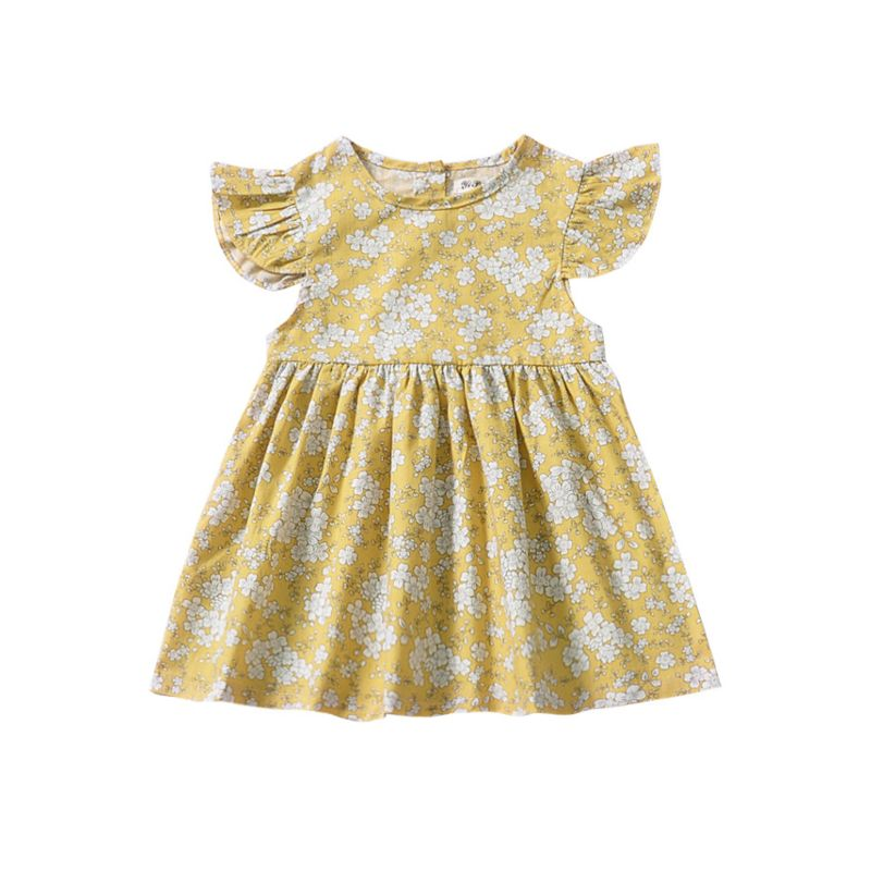 78d4e30919da Summer Baby Little Girl Flower Print Short Flutter Sleeve Dress