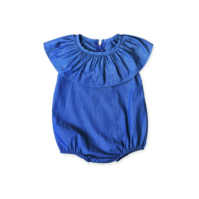 Summer Baby Little Girl Blue Ruffle Bodysuit Romper