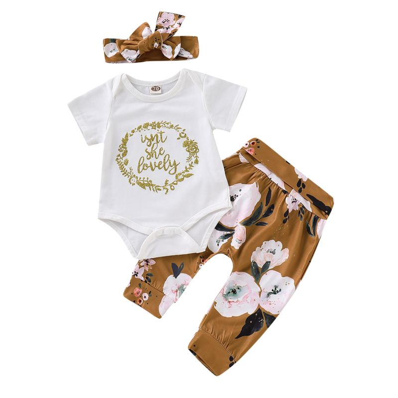 3-Piece Baby Girl Clothes Outfits Set ISN'T SHE LOVELY Letters Print Short-sleeved Bodysuit+Flower Trousers+Headband