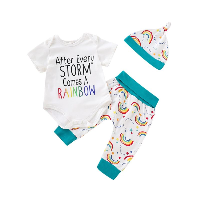3-Peiece Spring Baby Clothing Outfits Set AFTER EVERY STORM COMES A RAINBOW Letters Print Short-sleeved Onesie+Rainbow Print Pants+Hat