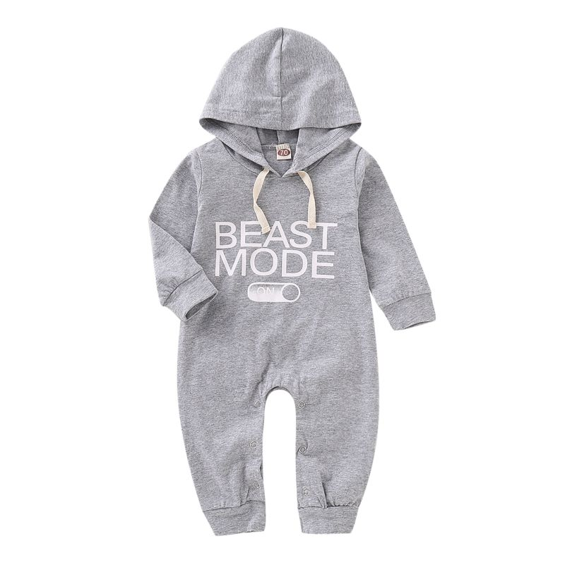 Spring Hooded Long-sleeved BEAST MODE Letters Print Baby Jumpsuit Overalls