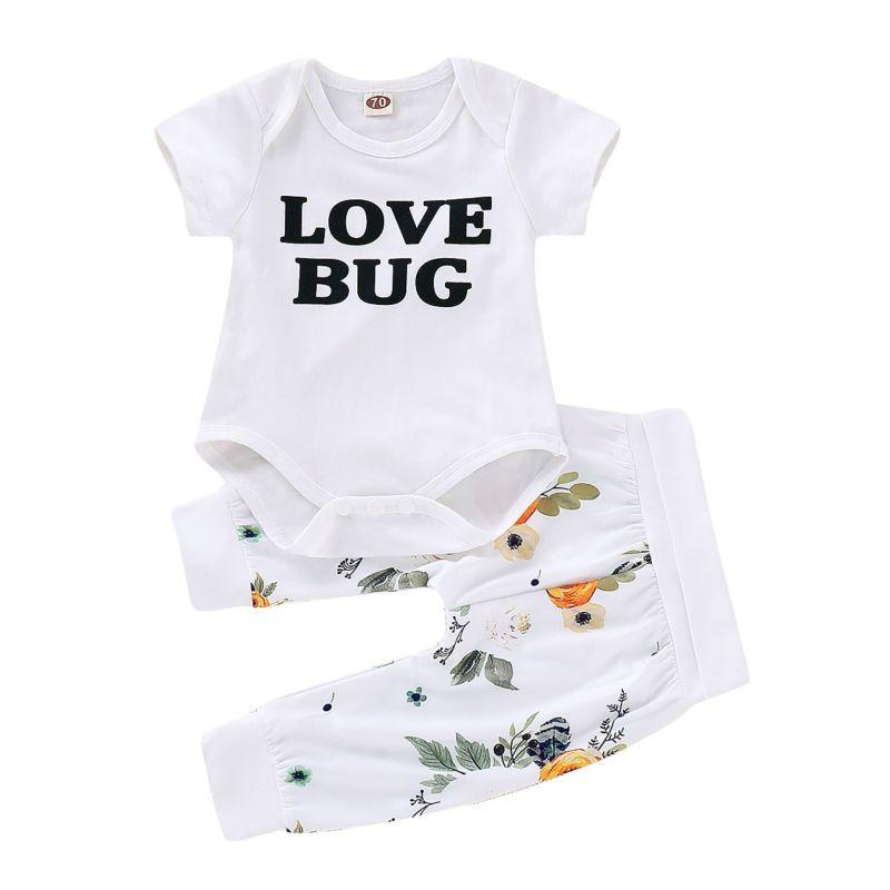 2-Piece Baby LOVE BUG Short Sleeved Romper+Flower Pants Set