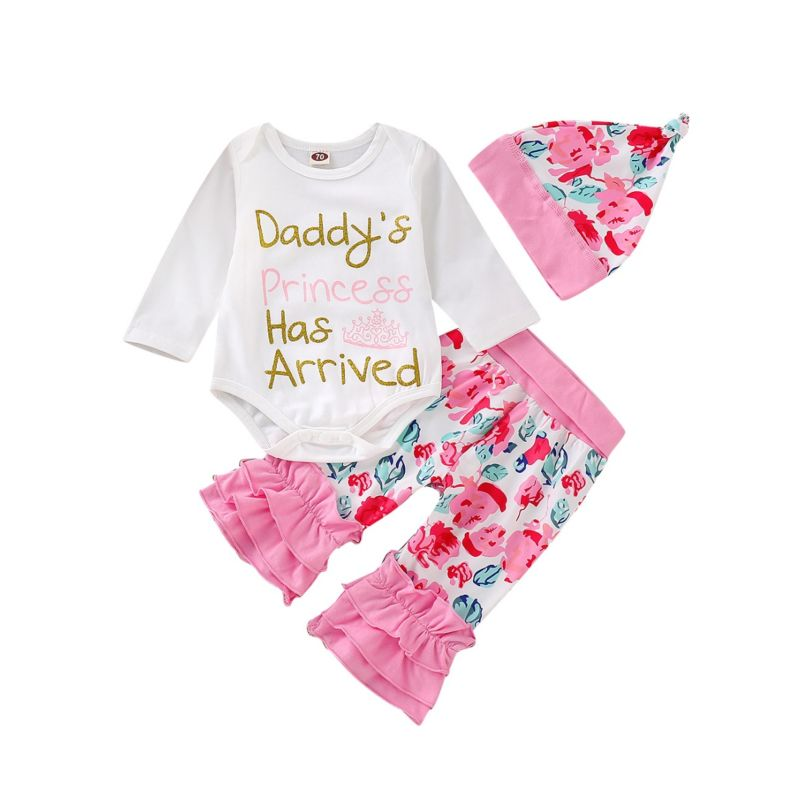 3-Piece Spring Baby Girl Clothes Outfits Set DADDY'S PRINCESS HAS ARRIVED Letters Print Long-sleeved Bodysuit+Frilled Flower Pants +Hat