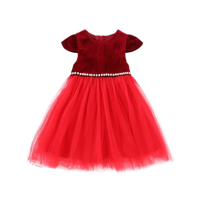 Beaded Corduroy Mesh Patchwork Short-sleeved Red Dress for Little Girl Kids Party Dress