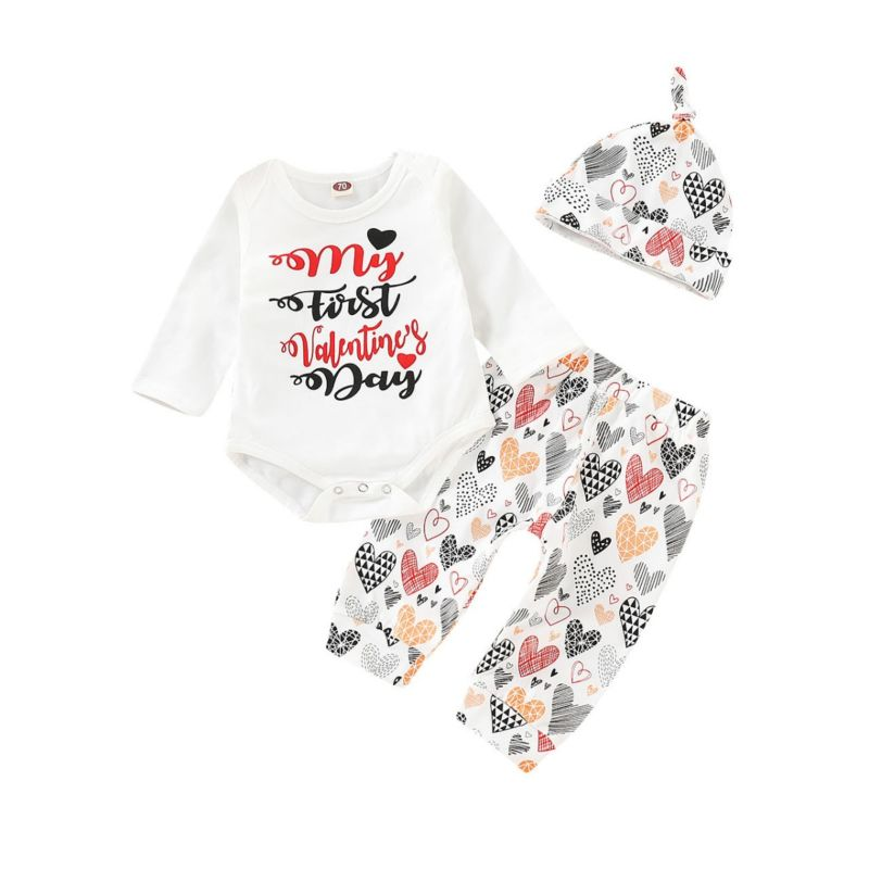 3-Piece Baby Valentine's Day Costume Set MY FIRST VALENTINE'S DAY Letters Print Long-sleeved Bodysuit + Love Heart Trousers+Hat