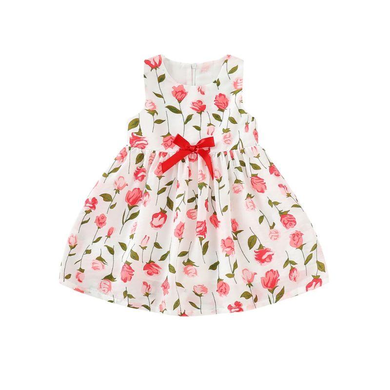 Summer Baby Little Girl Rose Print Sleeveless Bow Dress