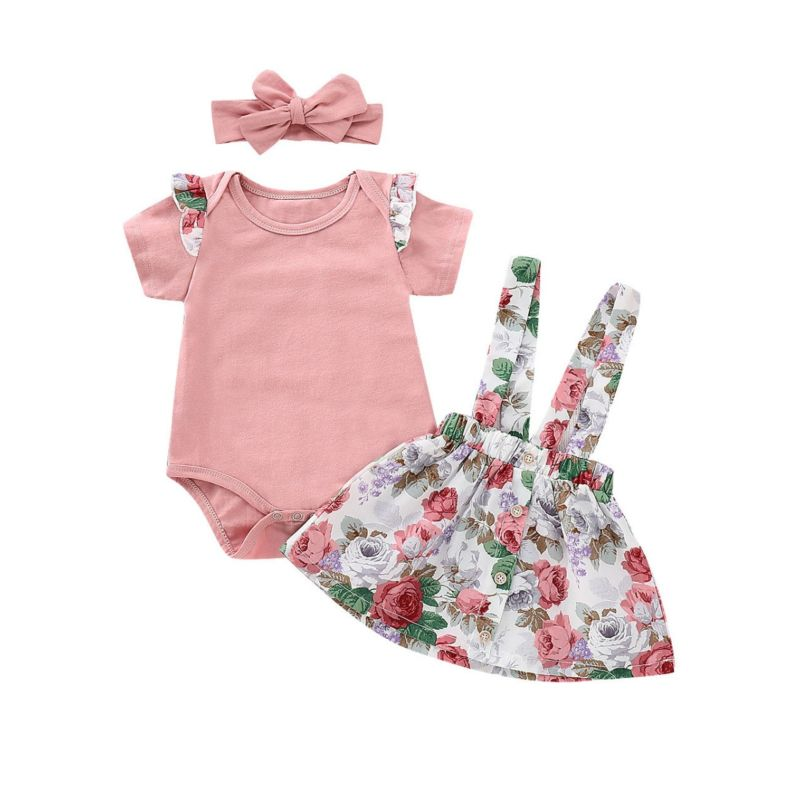 3-piece Baby Girl Summer Clothes Outfits Set Flutter Sleeve Floral Bodysuit+Floral Jumper Skirt +Pink Headband