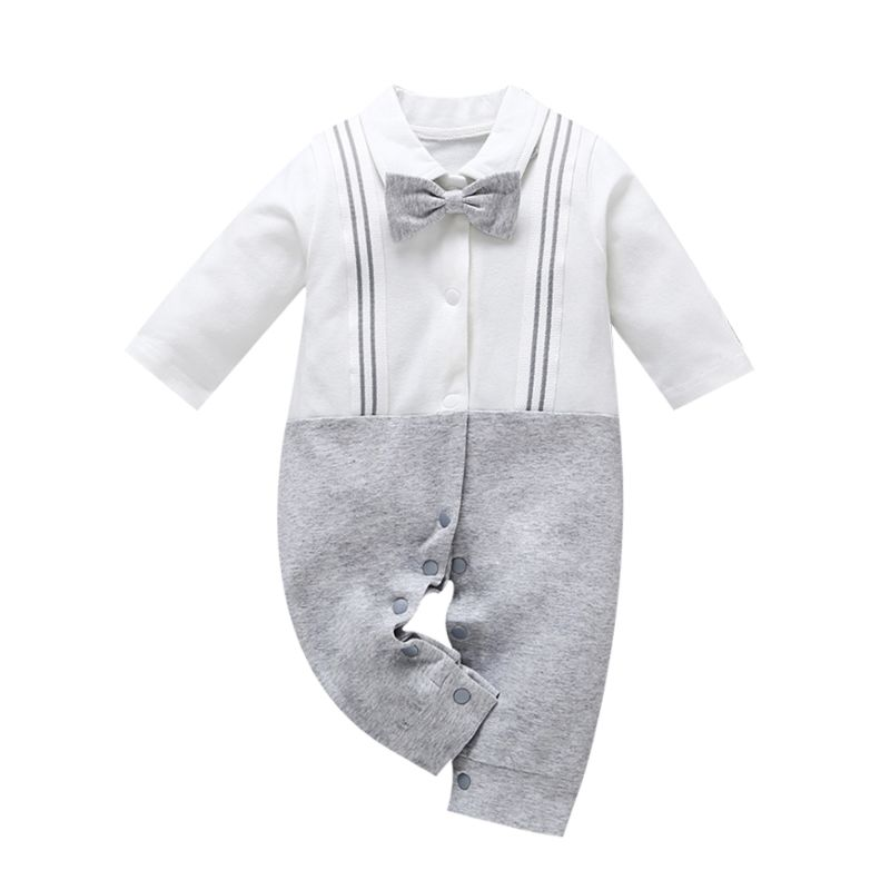 Spring Cute British Style Bowtie Infant Boys Overalls Jumpsuit Long-sleeved
