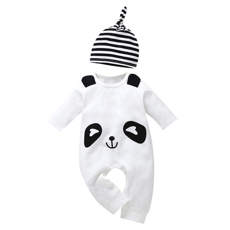 Adorable Panda Style Long-sleeved Baby Overalls with Striped Hat