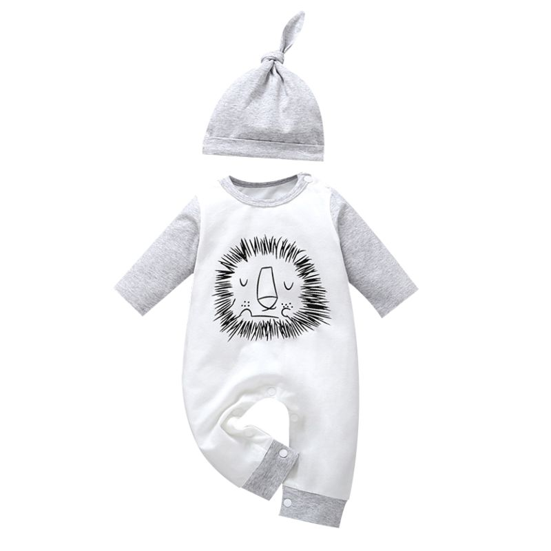 Cute Lion Print Long-sleeved Infant Jumpsuit with Hat