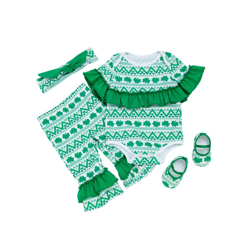 4-Piece Baby Girl St.Patrick's Day Theme Costume Outfits Set Ruffle Four-leaf Clover Print Bodysuit +Frilled Hem Trousers + Headband +Shoes