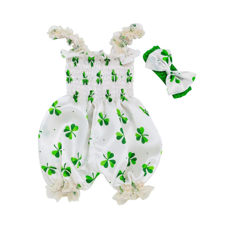 Infant Girl Four-leaf Clover Print Sleeveless Romper with Headband