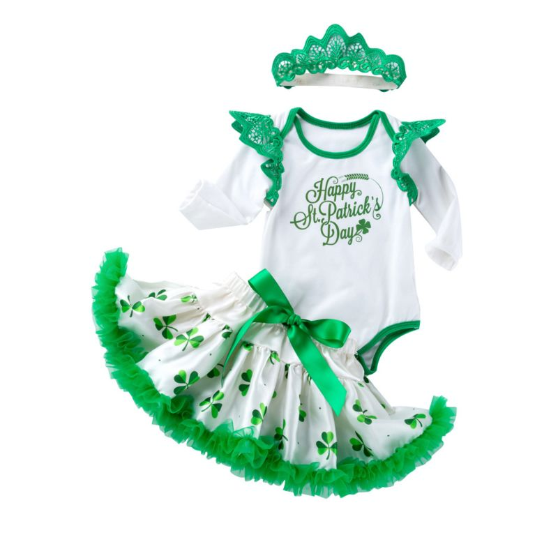 3-Piece Baby Girl St.Patrick's Day Costume Set Flutter Long Sleeve Happy St.Patrick's Day Letters Print Bodysuit +Four-leaf Clover Bow Tutu Skirt+Headband