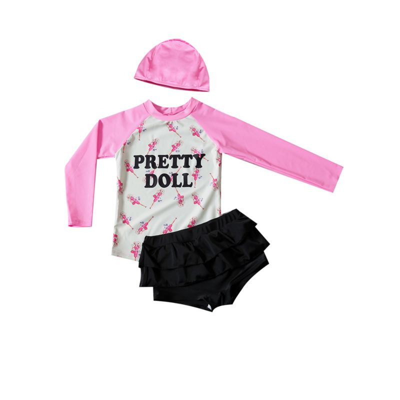 3-Piece Toddler Big Girl Sun Protection Swimwear Set PRETTY DOLL Letters Print Long-sleeved Top + Black Frilled Shorts + Pink Swim Hat