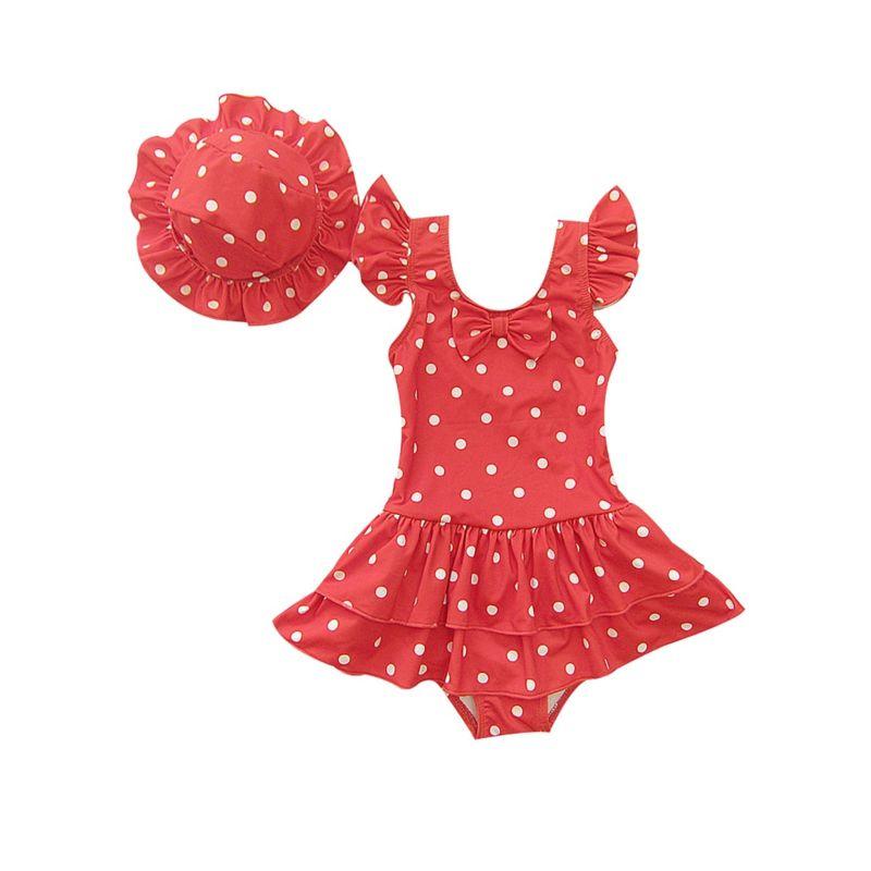 Toddler Big Kids Girls Frilled Polka Dots Bathing Suit with Swim Hat