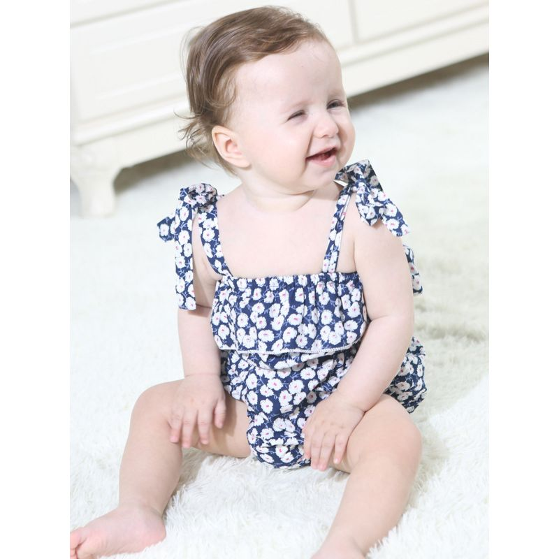 Summer Floral Baby Lace-up Romper Bodysuit