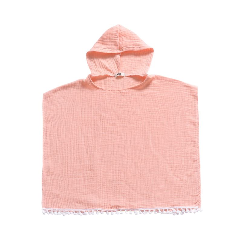 Toddler Kids Baby Solid Color Hooded Pom Pom Trimmed Poncho Summer Beach Wear