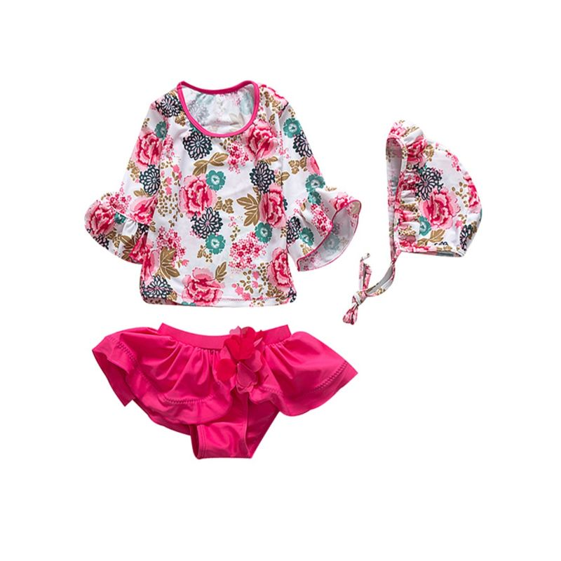 3-Piece Toddler Big Kids Girls Japanese Style Hot Spring Bathing Suit Set Bell-sleeved Flower Print Top+Frilled Pink Shorts +Swim Hat