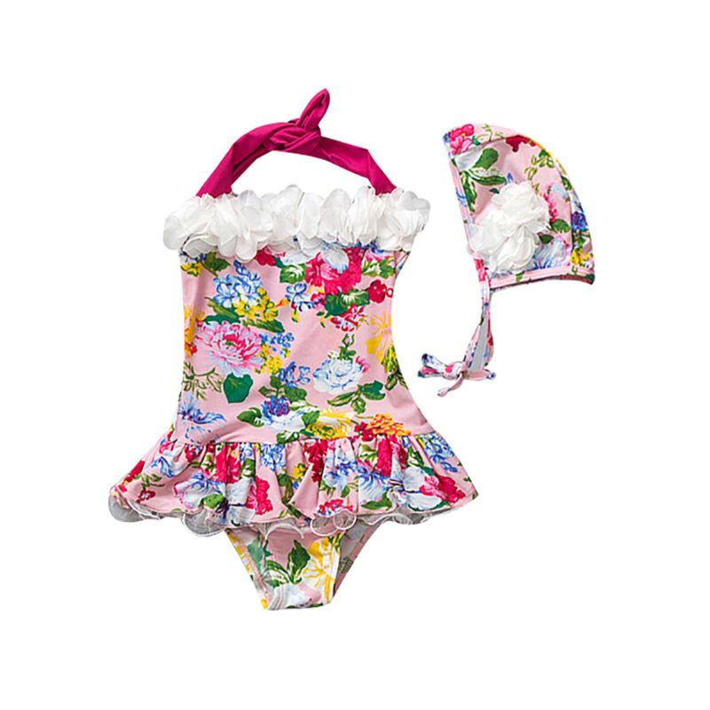 Sweet Toddler Big Girl Frilled Flower Print Halter Neck  One-piece Swimsuit + Swim Cap Set