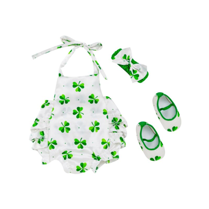 3-Piece Baby Girl Saint Patrick's Day Clothes Outfits Set Halter Neck Four-leaf Clover Print Romper+Shoes+Headband