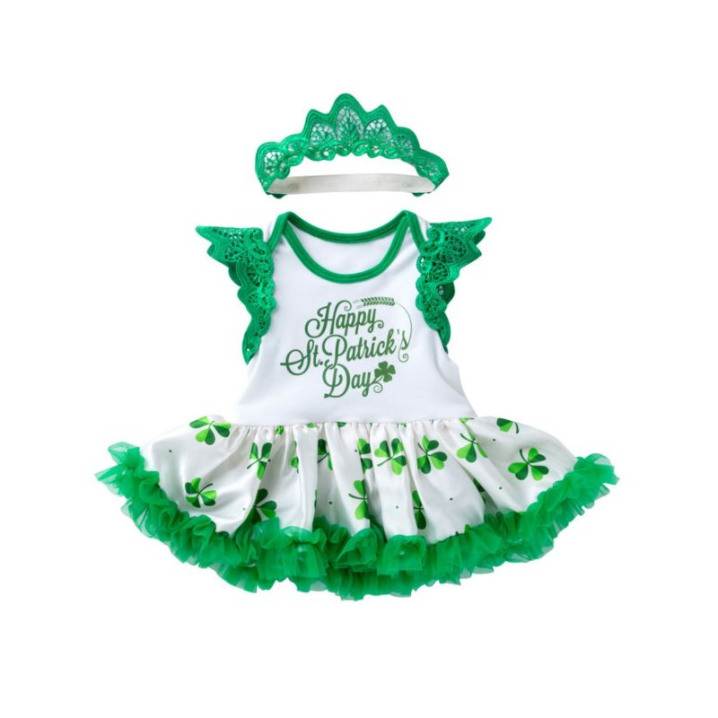 Happy St.Patrick's Day Letters Print Short Flutter Sleeve Dress with Headband