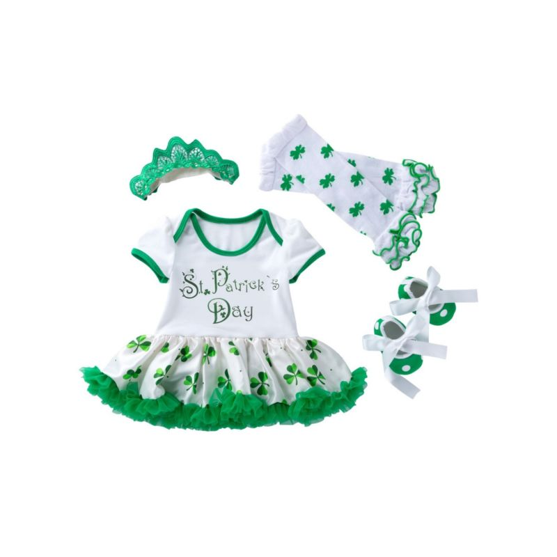 4-Piece Infant Girl Saint Patrick's Day Clothing Outfits Set Letters Print Short-sleeved Dress +Four-leaf Clover Print Frilled Legwarmers +Shoes+Headband