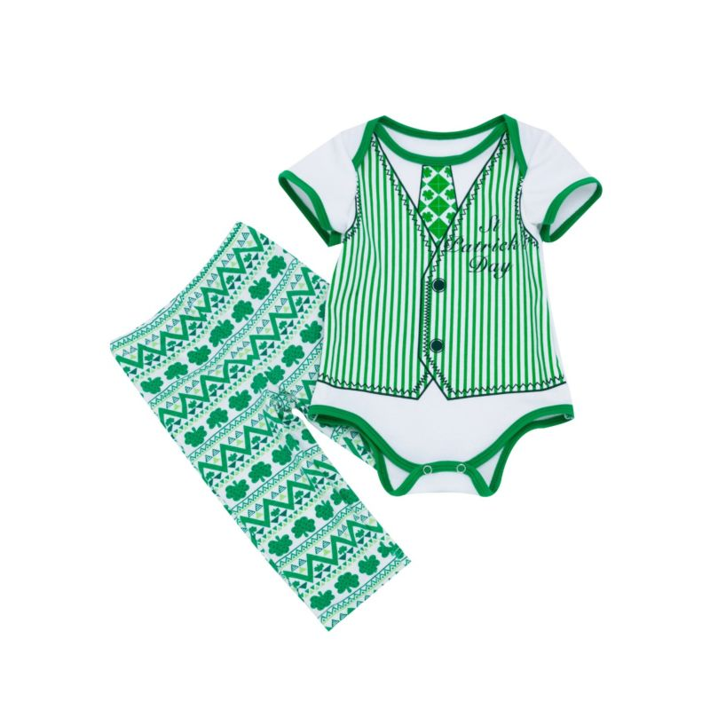 2-Piece Baby Boy Saint Patrick's Day Clothing Set Four-leaf Clover Print Short-sleeved Bodysuit+Pants