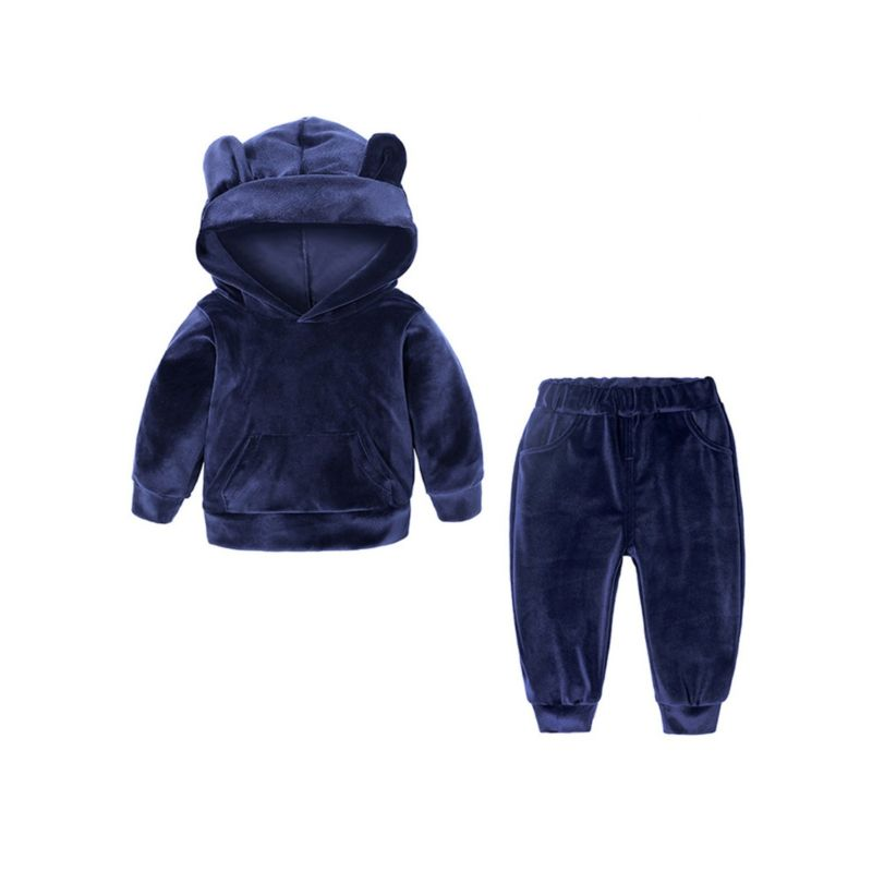 2-Piece Spring Fashion Toddler Kids Baby Solid Color Animal Ear Style Velvet Clothes Outfits Set Hoodie + Pants