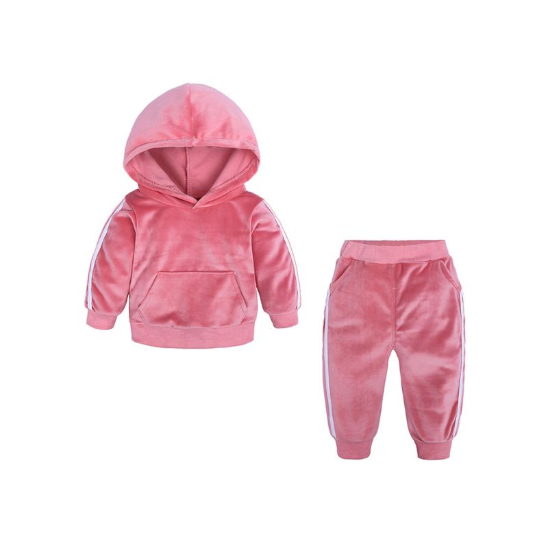 2-Piece Spring Stylish Unisex Baby Toddler Big Kids Solid Color Side Striped Velvet Clothing Outfits Set Hoodie +Trousers