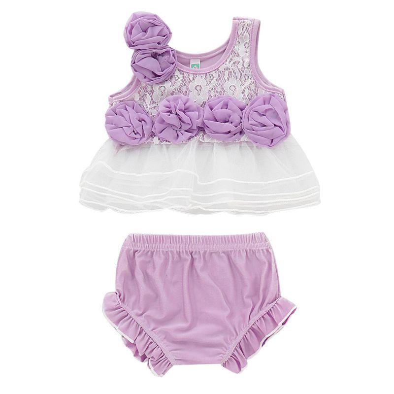 2-Piece Summer Infant Girl Flower Trimmed Mesh Top +Frilled Shorts Set