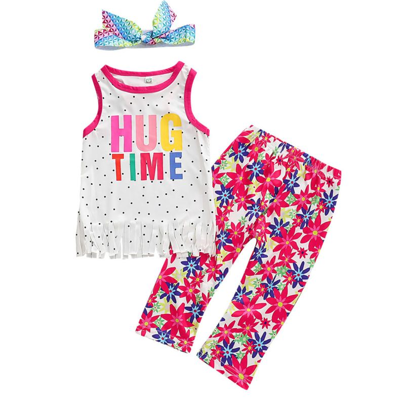 3-piece Baby Little Girl Clothes Outfits Set HUG TIME Letters Print Tank Top +Flower Trousers +Colorful Headband