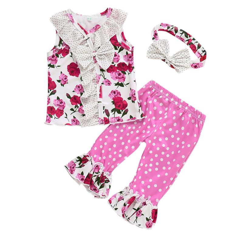 3-Piece Toddler Baby Girl Clothes Outfits Set Bow Flower Print Frilled Tank Top+Polka Dots Ruffle Hem Bell-bottoms + Headband