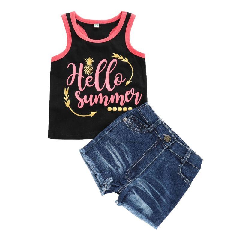 2-Piece Fashion Toddler Baby Girl HELLO SUMMER Letters Print Tank Top + Fringe Hem Short Jeans Set