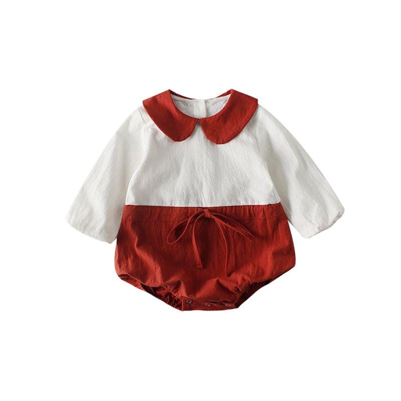 Spring Peter Pan Collar Color-blocking Baby Girl Bodysuit Long-sleeved