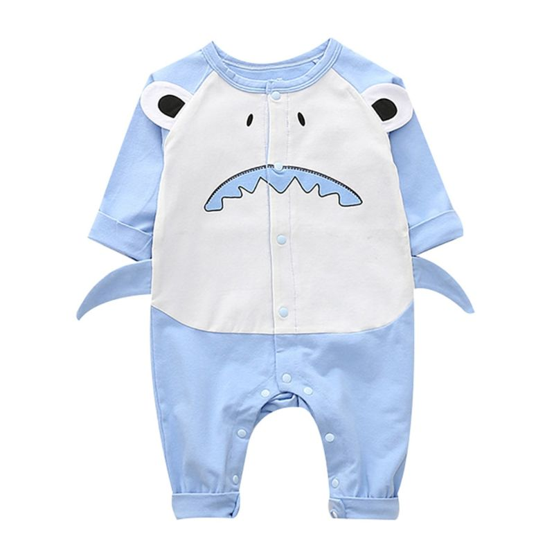 Long-sleeved Shark Style Newborn Baby Overalls Jumpsuit