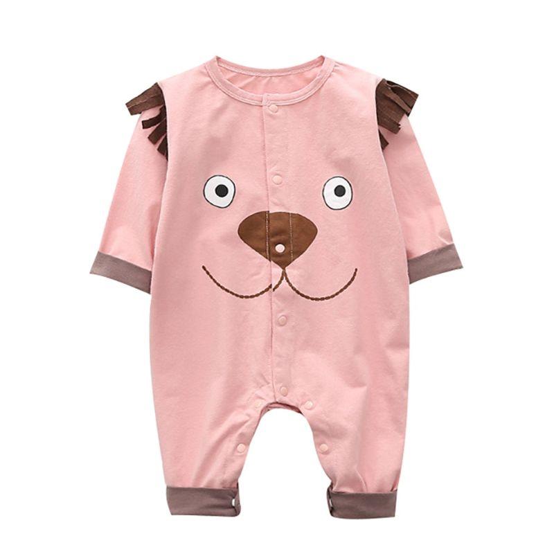 Adorable Long-sleeved Dog Pattern Newborn Infant Jumpsuit Overalls