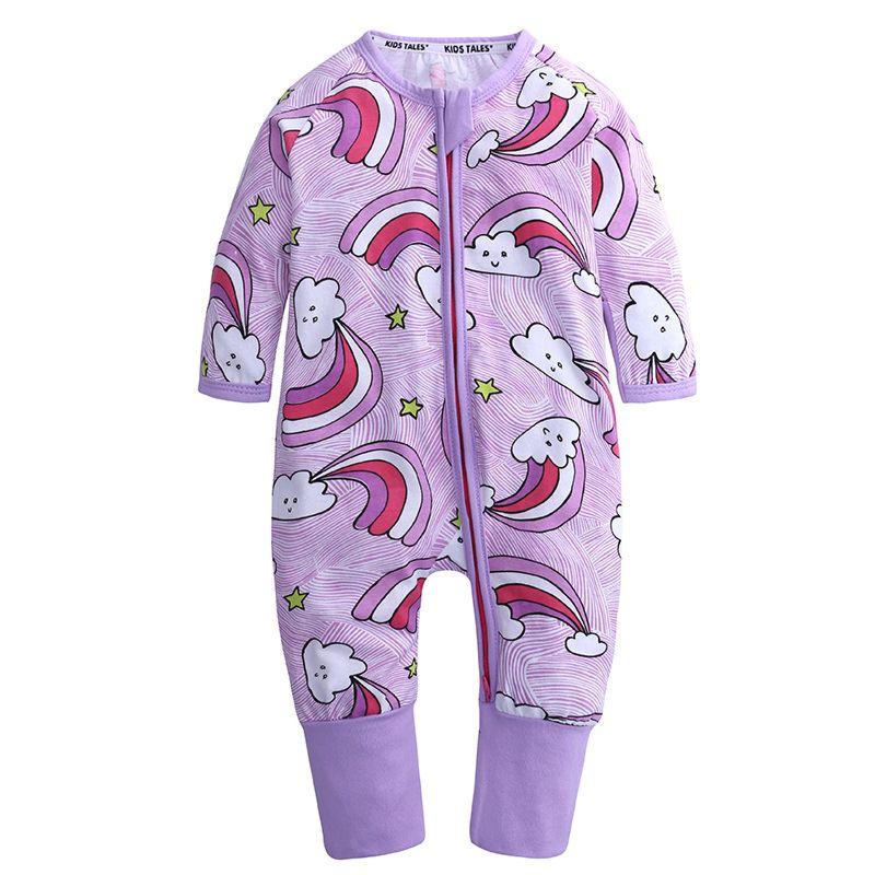 Spring Cartoon Rainbow Long-sleeved Zip Baby Jumpsuit Overalls