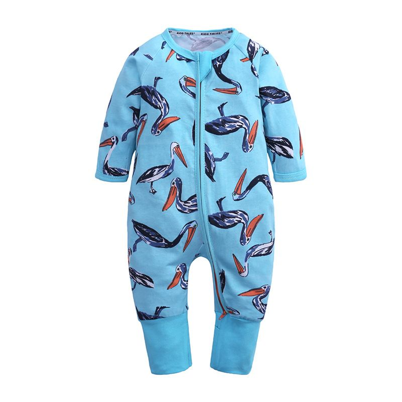 Cartoon Osprey Print Infant Long-sleeved Jumpsuit with Zip