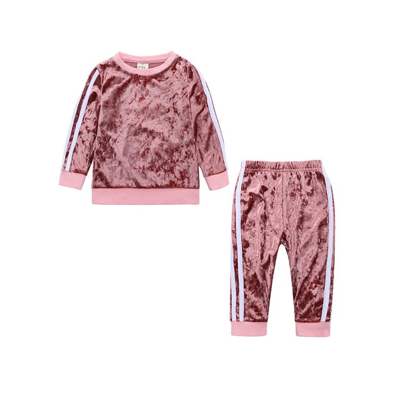 2-piece Spring Toddler Kids Baby Striped Velvet Clothes Outfits Set Jumper + Pants