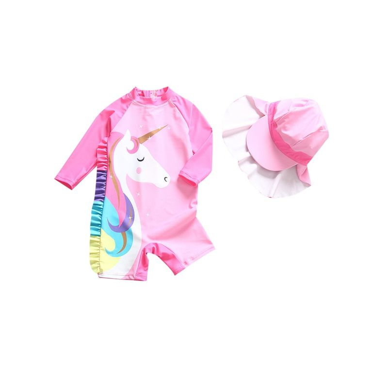 Cute Toddler Big Kids Unicorn Pattern Sun Protection Surfing Wetsuit with Hat
