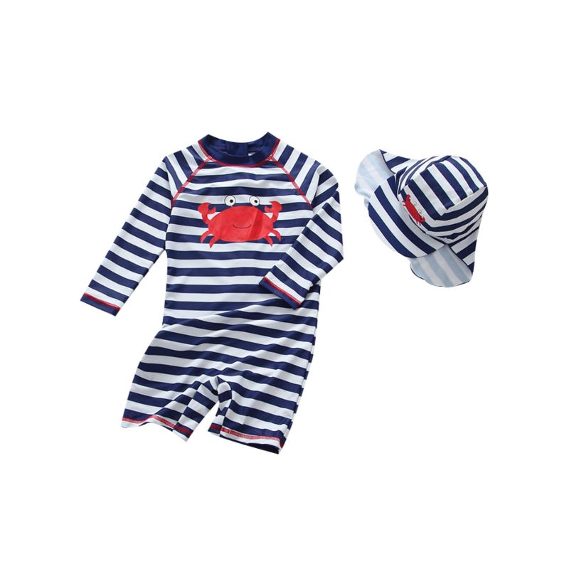 Toddler Baby Boys Crab Striped Sun Protection Surfing Wetsuit with Hat Children's Beach Wear