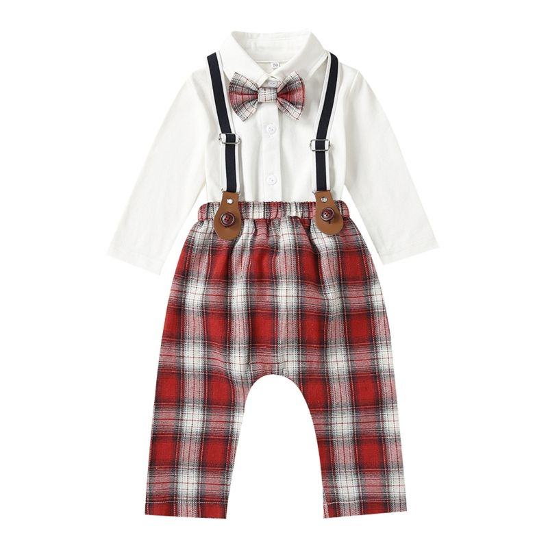 2-Piece British Style Baby Boys Spring Clothing Outfits Set White Long-sleeved Bodysuit with Bowtie + Checked Suspender Pants