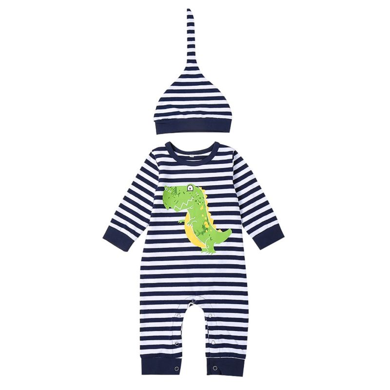 2-Piece Spring Striped Dinosaur Baby Overalls with Hat