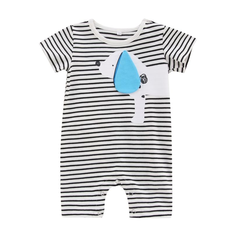 Cute Dog Striped Short-sleeved Baby Romper Onesie for Summer