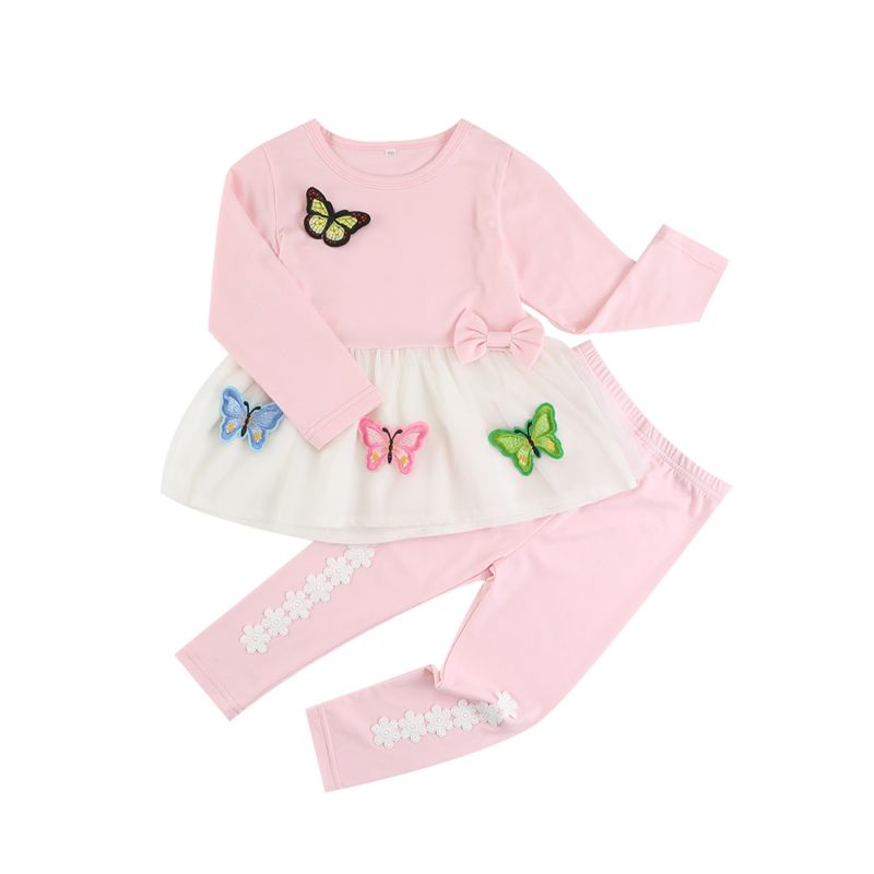 2-piece Toddler Big Girls Spring Outfits Set Long-sleeved Butterfly Bow Tunic + Flower Trimmed Legging Pants