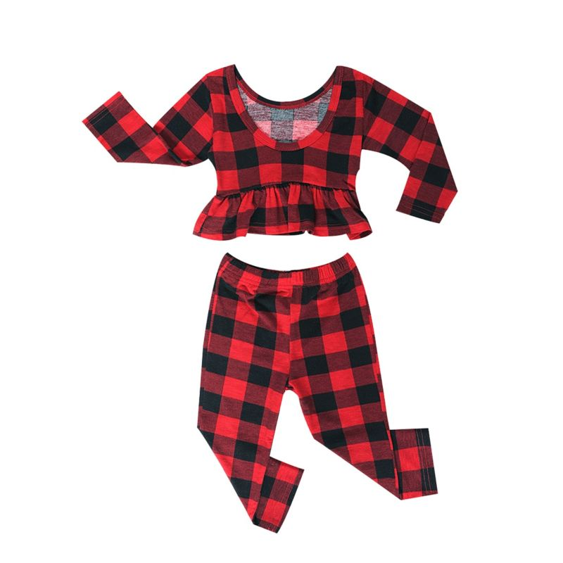 2-Piece Fashion Toddler Baby Girls Spring Clothing Outfits Set Checked Frilled Long-sleeved Top + Pants
