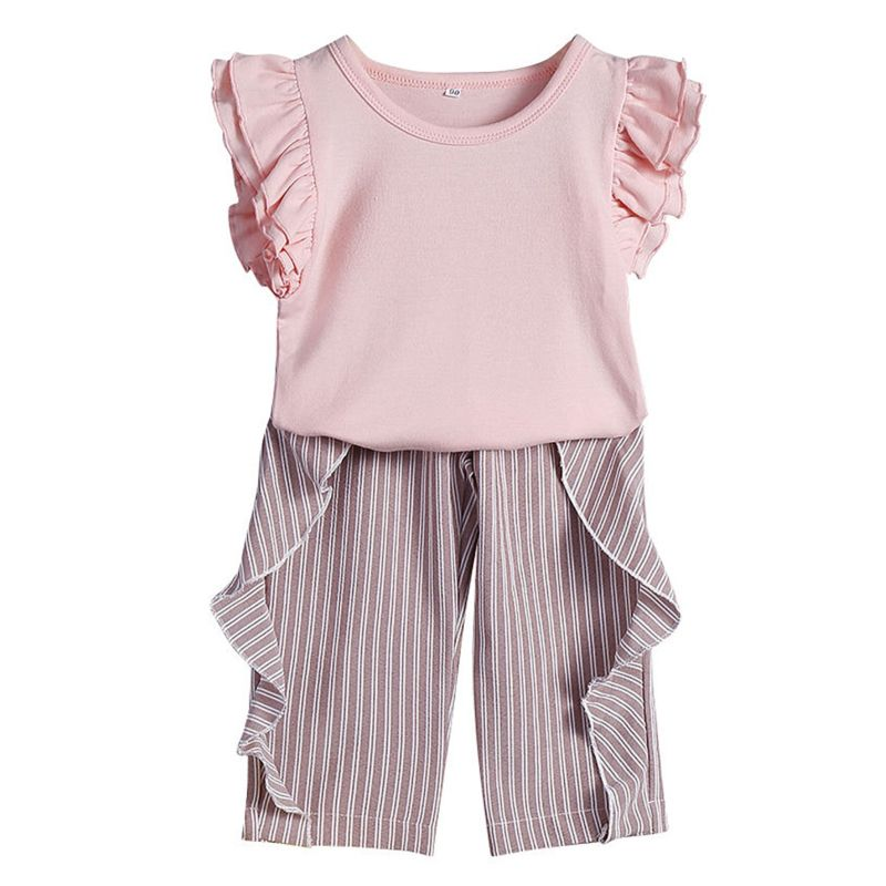 2-Piece Fashion Toddler Baby Girl Summer Clothes Outfits Set Short Flutter Sleeve Pink Blouse Top + Frilled Striped Pants