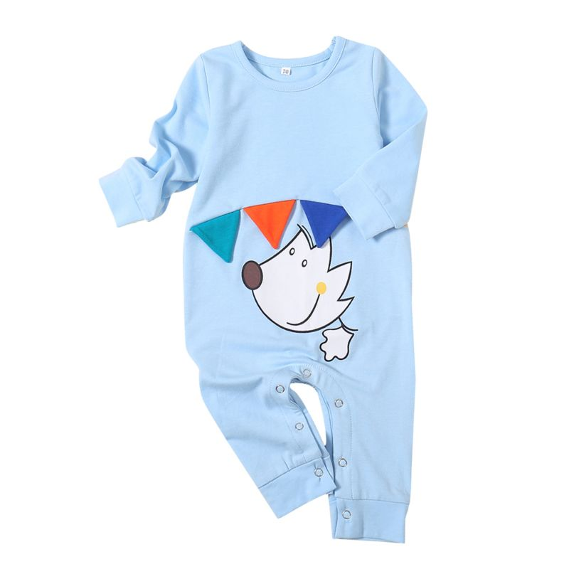 Cute Cartoon Dog Baby Sleepsuit Overalls Long-sleeved