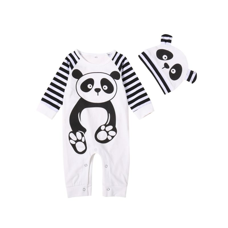 2-Piece Panda Style Baby Overalls with Hat